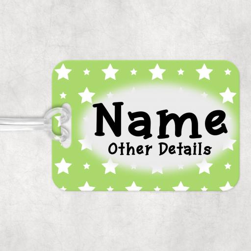 Lime Green Star Personalised Luggage Bag Tag