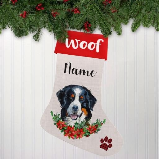 Bernese Mountain Dog Linen Personalised Christmas Stocking