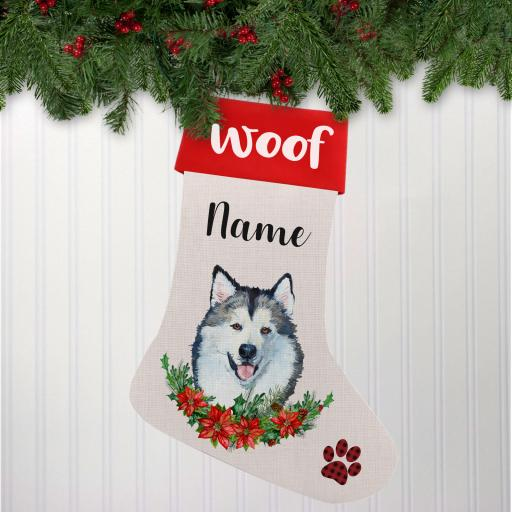 Alaskan Malamute Linen Personalised Christmas Stocking