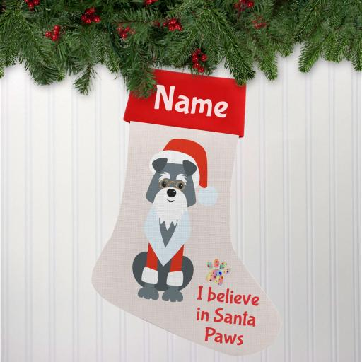 I believe in Santa Paws Grey Dog Linen Personalised Christmas Stocking
