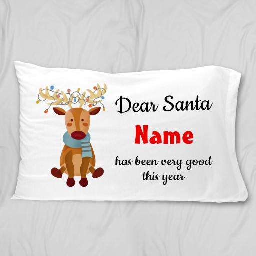 Dear Santa Pillow Case with cute reindeer design Personalised