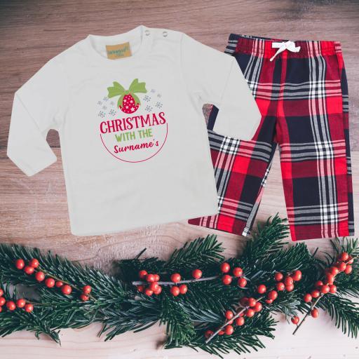 Christmas with the Personalised Tartan Christmas Pyjamas Toddler