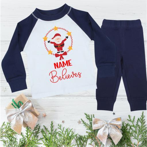 Name Believes Santa Christmas Pyjamas