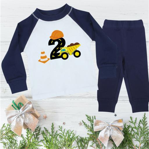 2 Construction Birthday Pyjamas