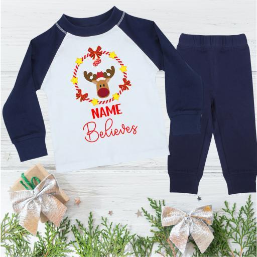Name Believes Reindeer Christmas Pyjamas