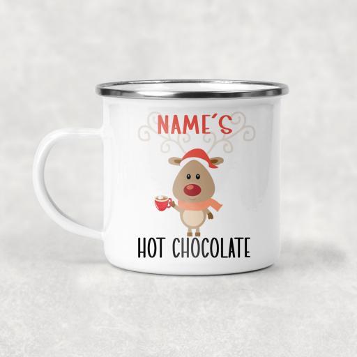 Reindeer Hot Chocolate Personalised Enamel Mug