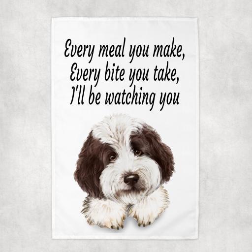 Every Meal you make, Every Bite you take Labradoodle Tea Towel