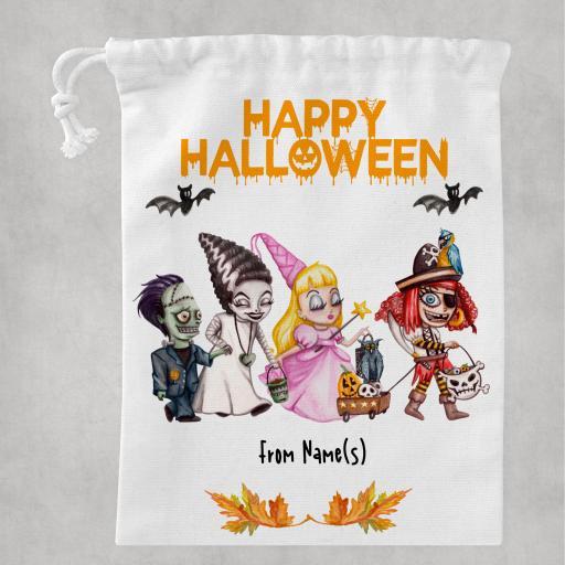 Happy Halloween V2 White Drawstring Bag