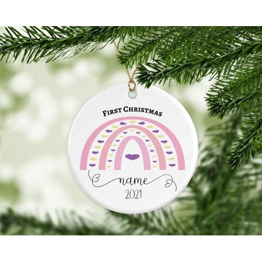 First Christmas Personalised Ceramic Christmas Ornament / Bauble