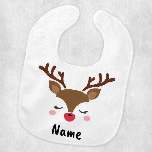 Reindeer Personalised Christmas Baby Bib