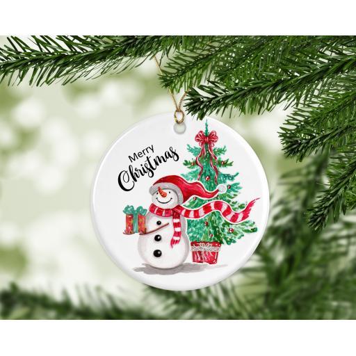 Merry Christmas Snowman Ceramic Christmas Ornament / Bauble