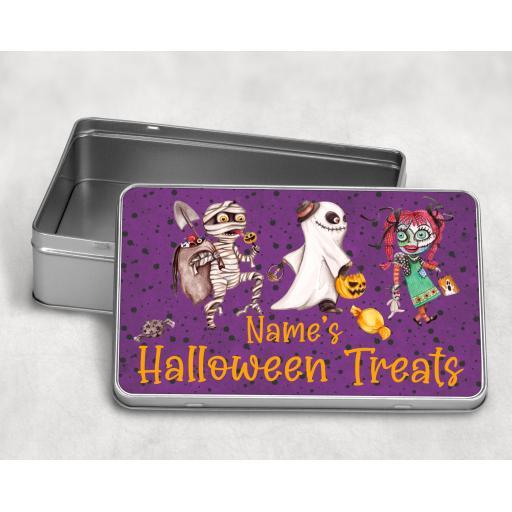 Halloween Treats Personalised Metal Tin