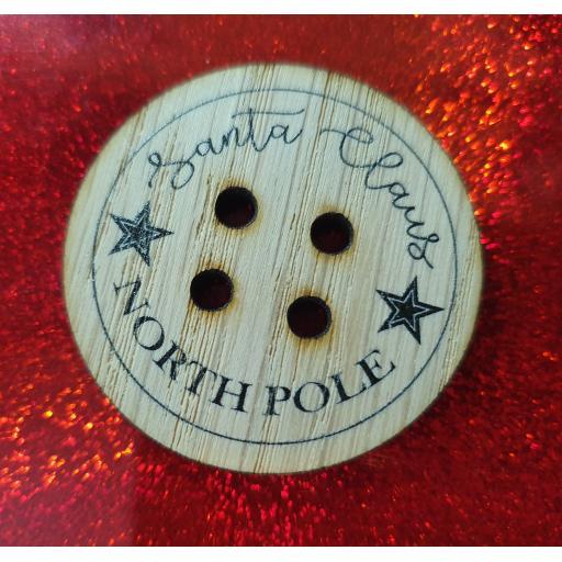 Santa Claus Lost Button Made of Oak