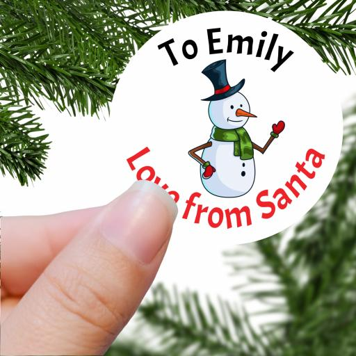 To Name Love from Santa with Snowman Printed Sticker