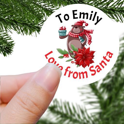 To Name Love from Santa Bear Design Printed Sticker