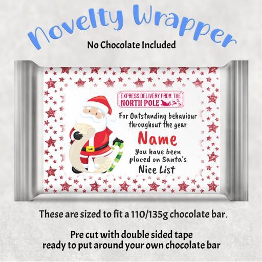 Santa Nice List Chocolate Bar Wrapper
