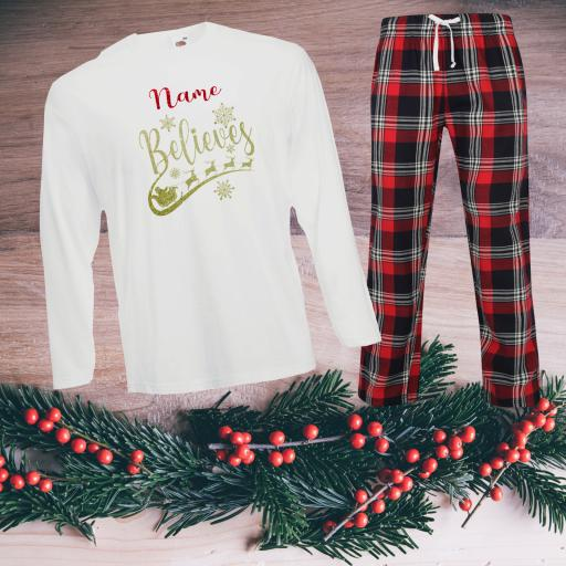 Name Believes Tartan Christmas Pyjamas Adult