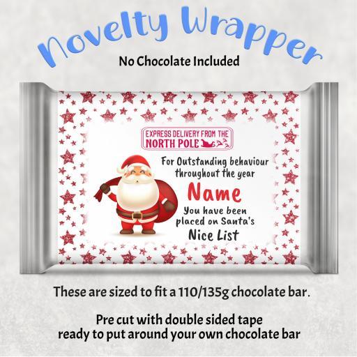 Santa Nice List V2 Chocolate Bar Wrapper