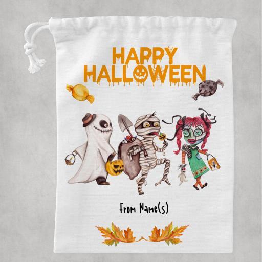 Happy Halloween White Drawstring Bag