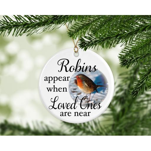 Robins Appear Ceramic Christmas Ornament / Bauble