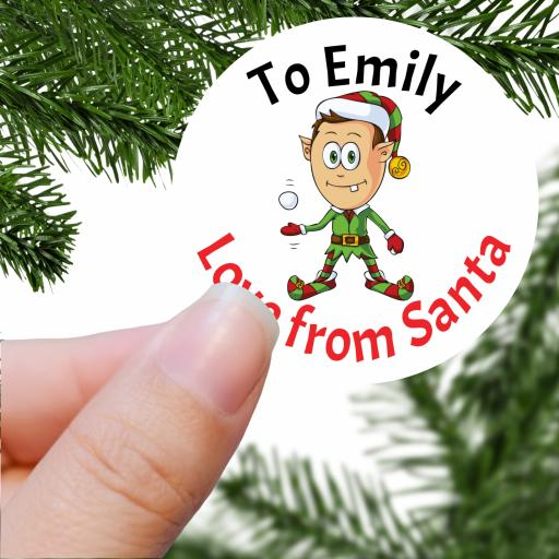 To Name Love from Santa with Elf Printed Sticker