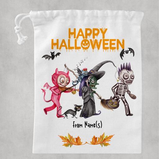 Happy Halloween V3 White Drawstring Bag