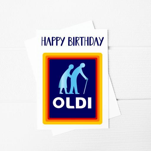 Happy Birthday Oldi A5 Card & Envelope