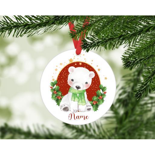 Personalised Polar Bear MDF Christmas Ornament / Bauble