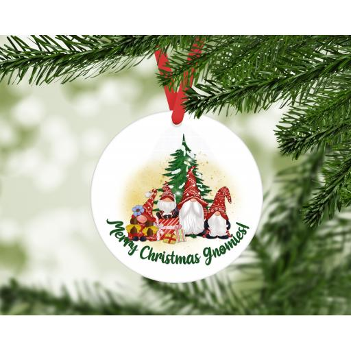 Merry Christmas Gnomies MDF Christmas Ornament / Bauble