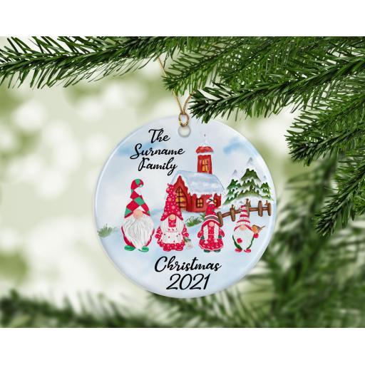Christmas 2020 Gnome Family Ceramic Christmas Ornament / Bauble