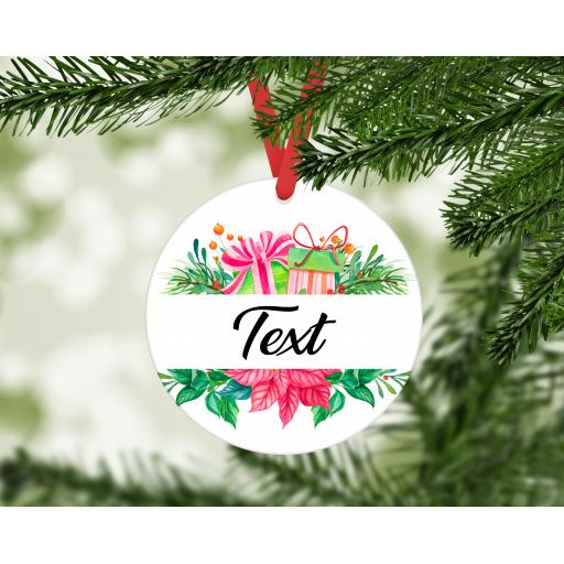 Christmas Wreath Personalised MDF Christmas Ornament / Bauble
