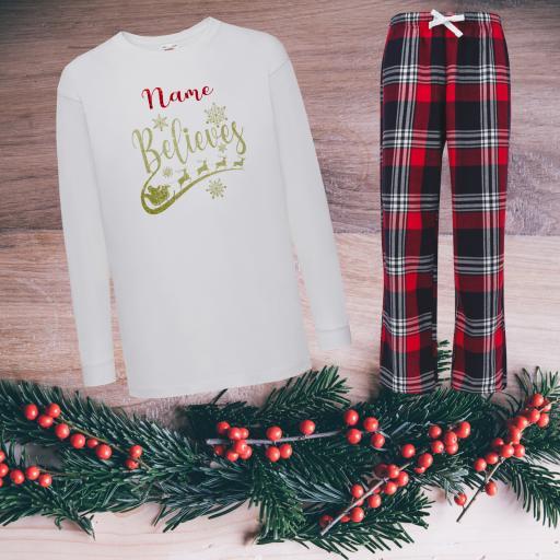 Name Believes Tartan Christmas Pyjamas Child