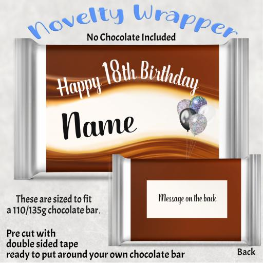 Birthday (Any Number) Balloons Chocolate Bar Wrapper