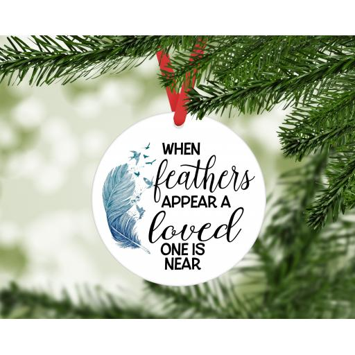 When feathers appear MDF Christmas Ornament / Bauble