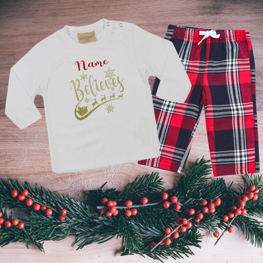 Name Believes Tartan Christmas Pyjamas Toddler