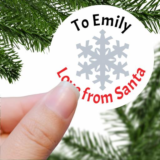 To Name Love from Santa with Snowflake Printed Sticker