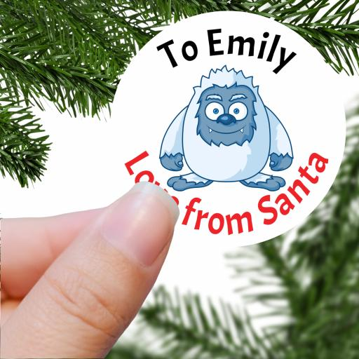 To Name Love from Santa with Yeti Printed Sticker
