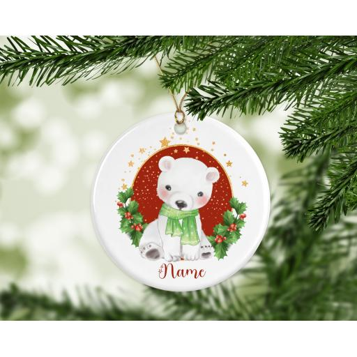 Personalised Polar Bear Ceramic Christmas Ornament / Bauble