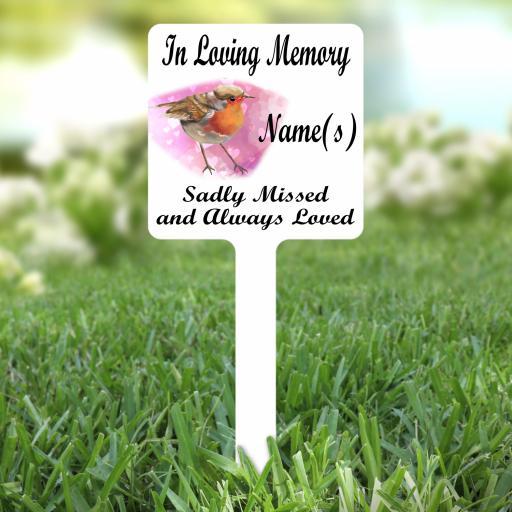 In Loving Memory Robin V2 Personalised Memorial Grave Marker / Stake