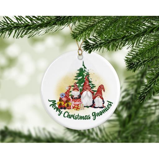 Merry Christmas Gnomies Ceramic Christmas Ornament / Bauble