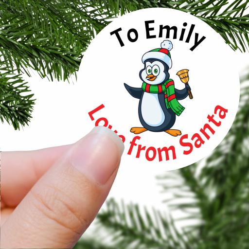 To Name Love from Santa with Penguin Printed Sticker