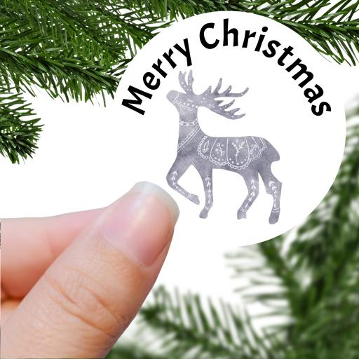 Merry Christmas Grey Stag Printed Sticker