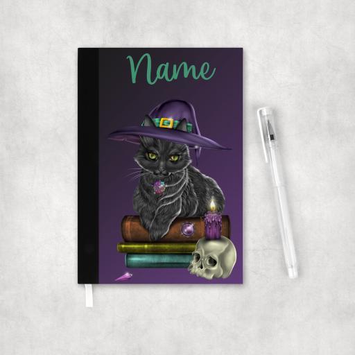 Personalised Black Cat Wiccan Organiser Notebook