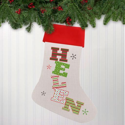 Name Linen Personalised Christmas Stocking