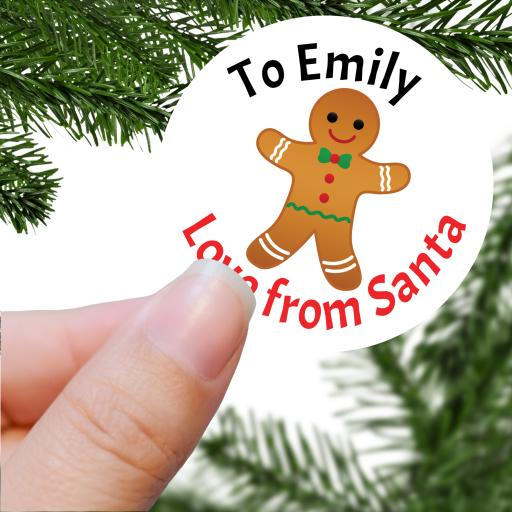 To Name Love from Santa with Gingerbread Man Printed Sticker