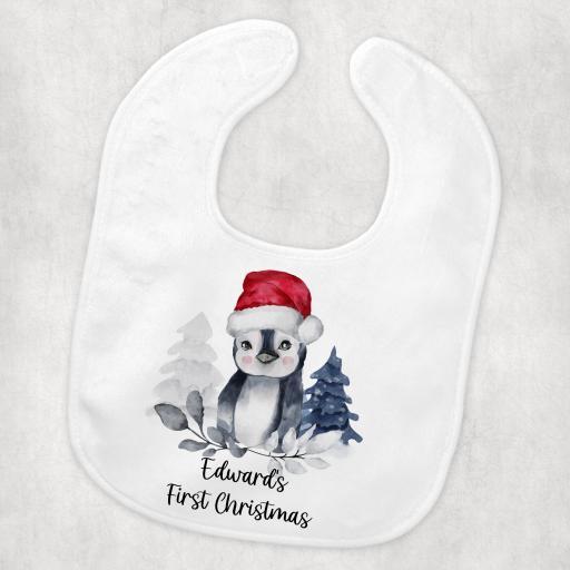 Personalised 1st Christmas Penguin Baby Bib