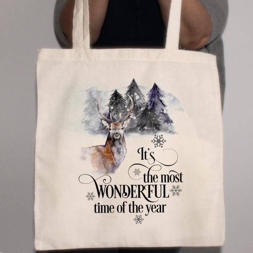 It's the most wonderful time of the year Stag Cotton Tote Bag