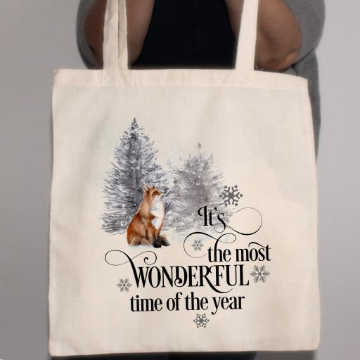 It's the most wonderful time of the year Fox Cotton Tote Bag