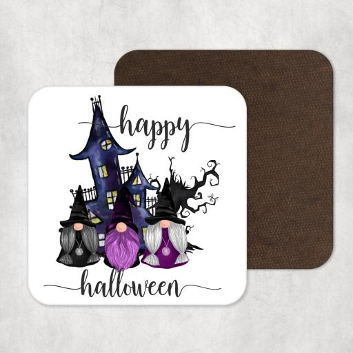 Happy Halloween Gnomes Wooden Coaster