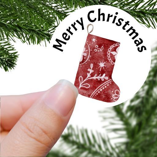 Merry Christmas Stocking Printed Sticker